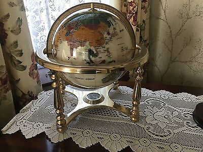 Pre Owned World Atlas Mother Of Pearl Gemstone Globe