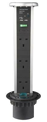 POD+ STEEL 3X POWER 2X USB Electrical Switches & Socket Outlets
