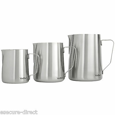 VonShef Stainless Steel Milk Frothing Jug in 330, 600, 945ml. Coffee Latte Cafe