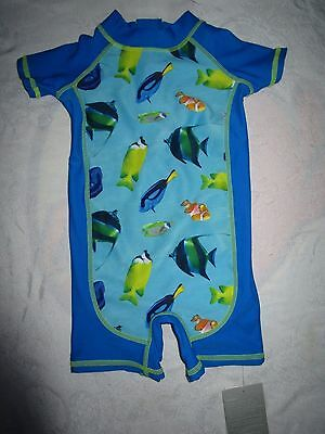 Boys Size 00 Pumpkin Patch Tropical Fish Sunsuit swim suit NWT