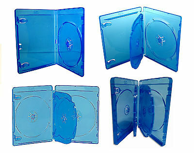 Pack ESTUCHES / CAJAS para 1 / 2 / 3 / 4 / 6 BLURAY - AZUL TRANSPARENTE - CD DVD