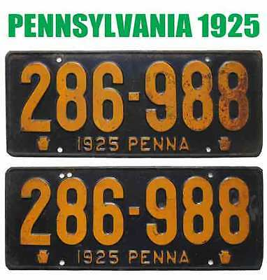 Pennsylvania 1925 License Plates RARE PAIR - Can Be Registered To An Antique Car