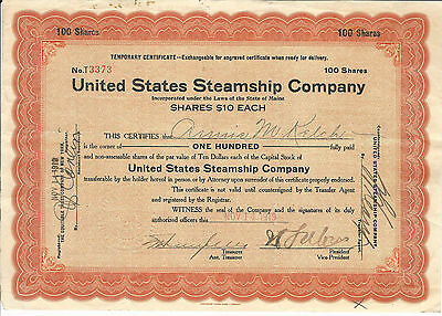 1919 MAINE United States Steamship Company Temporary Stock Certificate