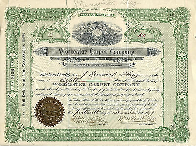 MASACHUSETTS 1899, Worcester Carpet Company Stock Certificate