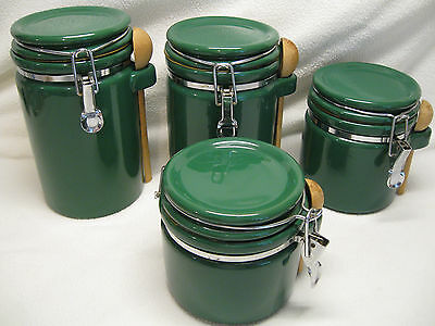 SET OF FOUR Winsome Forest Green Kitchen Canisters with Wood ...
