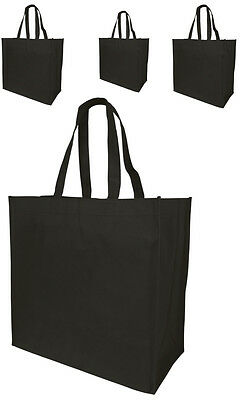 4 Jumbo Size Grocery Tote Shopping Bag Black Reusable Eco Friendly Large Bags
