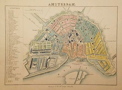 Antique Map AMSTERDAM Netherlands  Hand Colored P.W. Van de Weijer