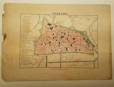 Antique Map UTRECHT Netherlands  Hand Colored P.W. Van de Weijer