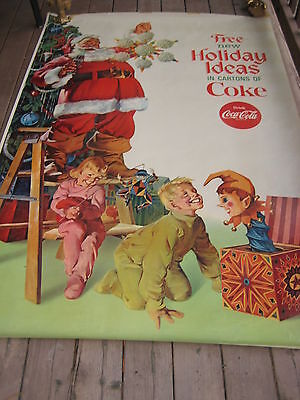 Very Rare 1940s-50s Coca-cola Coke Christmas Santa Large Poster Banner 6' x 4'