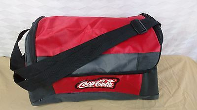 New COCA-COLA Medium Canvas Red Grey Tote Beach Grocery Bag Straps / Zippered