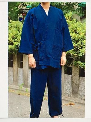 Japanese SAMUE Traditional Work Kimono Denim Wear Jacket & Pants Blue - M or L