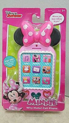 NIB Disney Minnie Mouse Pretend Toy Talking Cell Phone Phrases Sounds