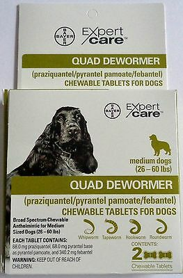 New Expert Care Quad Dewormer For Medium Dogs (26-60 Lbs) - Ships Free!