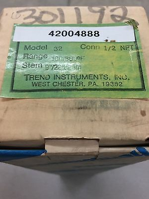 "New In Box Trend Instruments Bimetal Thermometer Model 32 100/800F Range 9"" Stem"