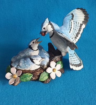 Natures' Bounty - Blue Jay with Baby Birds in Nest - Lenox 1992