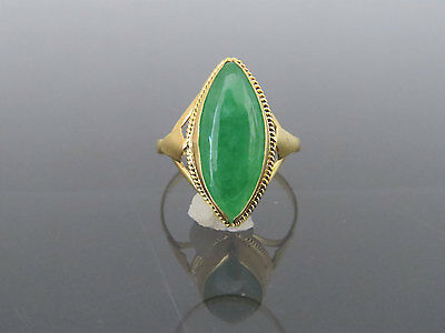 Vintage 18K Solid Yellow Gold Natural Green Jadeite Jade Marquise Ring Size 6.75