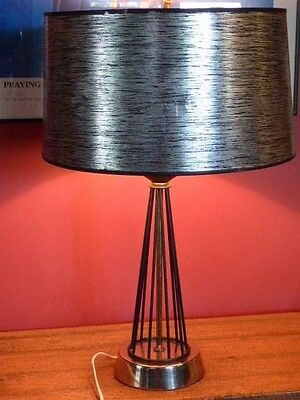 "Vintage Mid Century 1950's Atomic Age Wire Table Lamp Black, Silver, Gold 22"" T"