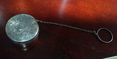 Antique 19th century Victorian sterling silver chatelaine compact chain ring