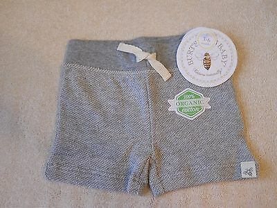 Burts Bees Baby Infant Shorts (Gray) 100% Organic Cotton  Size 3-6 Months