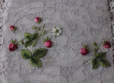 Antique Swiss Hand Loomed Strawberry & Floral Embroidered Fabric Sample