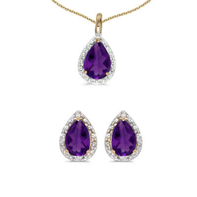 10k Yellow Gold Pear Amethyst And Diamond Earrings and Pendant Set