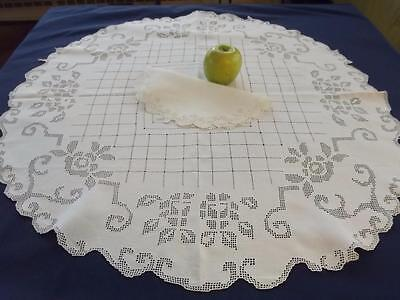 "Antique Italian Linen Geometric Lace Roses 30""Round Bridal Topper Centerpiece"