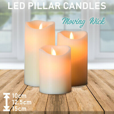 Flameless LED Pillar Candle Set - Moving Wick Electric Candles Wedding Battery