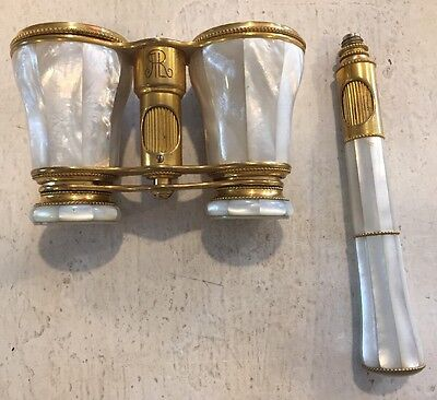 Antique Lemaire Paris Mother Of Pearl Opera Glasses W/ Handle Binoculars French