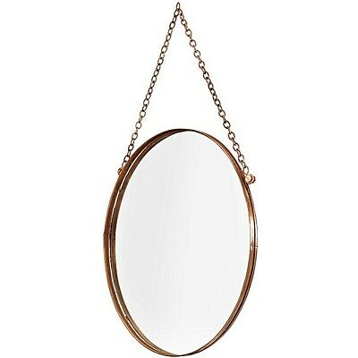 Oliver Bonas Small Round Copper Mirror with linked chain