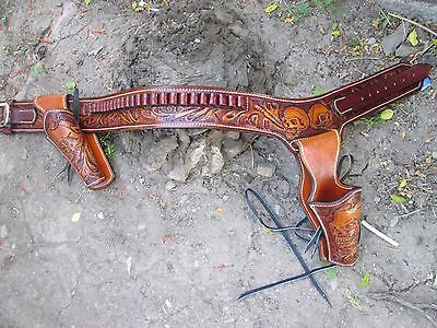 D.A.D CUSTOM LEATHER Skull Tooled Double Western Holster Fast Draw Combo