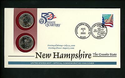 US FDC 50 State Quarter Series Official US Mint PNC covers New Hampshire NH 2000