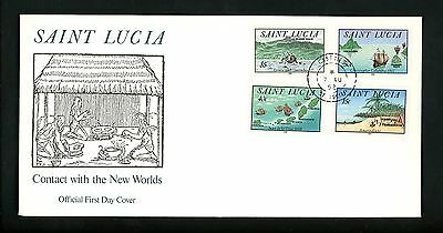 Postal History St. Lucia FDC #993-996 New World America Discovery Cosa 1992