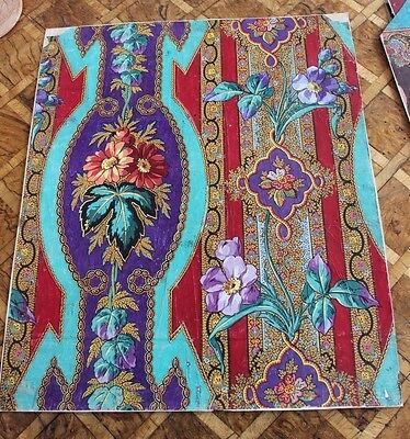 Rare Antique French (1860-70) Exotic Hand Painted Gouache Textile Design~~F
