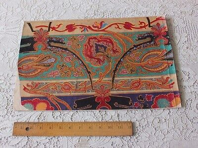 Rare Antique French (1860-70) Exotic Hand Painted Gouache Textile Design~~G