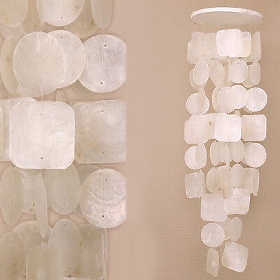 Large White Shell Wooden Base Spiral Mobile Waterfall Wind-Chime 65cm Hanging