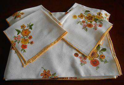 5 pcs off White Linen Rectangular Tablecloth Napkin Yellow Flowers 66 x 50""