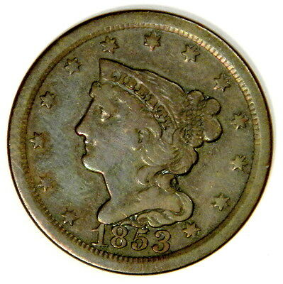 1853 Half Cent - Bold Vf/xf Priced Right! Inv#178A