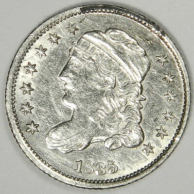 1835 Bust Half Dime - Nice Bold Au/bu About Uncirculated Priced Right! Inv#184A