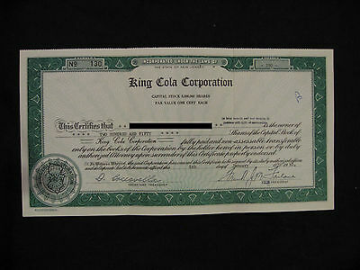 1960 King Cola Corporation Stock Certificate 250 Shares