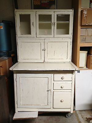Vintage KITCHEN CABINET hutch cupboard Hoosier  WHITE