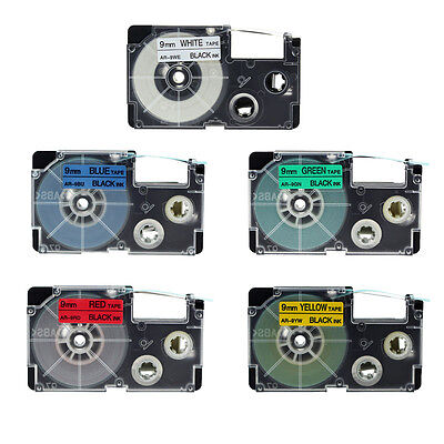 5PK Compatible for Casio EZ-Label Printer 9mm Black Print on Color Tapes XR-9WE1