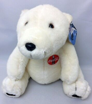 "COCA COLA Vintage POLAR BEAR 11"" White Plush Stuffed Animal VINTAGE"