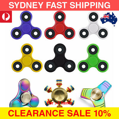 AU Fidget Spinner Toy Tri Stress 3D ADHD EDC LED Metal Gold Fidgetspinners Glow