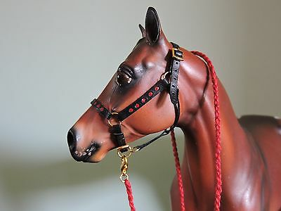 Leather Red & Black Dot Halter Traditional sized Breyer Peter Stone W/ Lead Rope