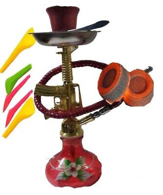 """Black Mini Hookah 7.5"""" with Free 10 charcoal,4 Mouth tips,Your favorite Flavor.,"""