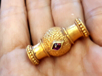 Astonishing Antique Ruby Protect Eye Geniune Solid 22-24K Gold Egypt Pendant