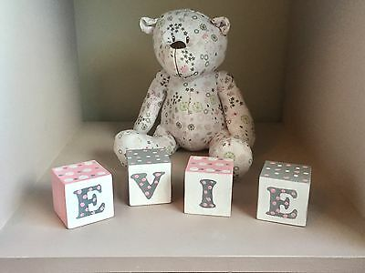 Wooden Name Blocks, Christening Gift - Baby Gift. (HAND PAINTED)