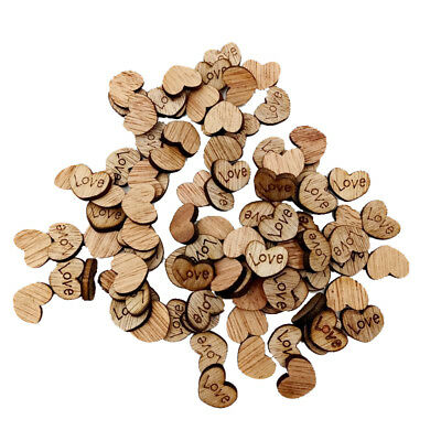 100 Wooden Heart Slices For Rustic Wedding Table Decoration Confetti 12x15mm