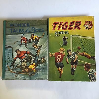 2 1930s 1950s vintage Tiger annual 1957 wonder tales for boys hardcover book