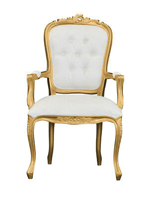 French Louis XV Elise Armchair  - Gold with Ivory Damask
